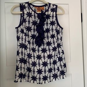 Tory Burch navy/white sleeveless printed voile top